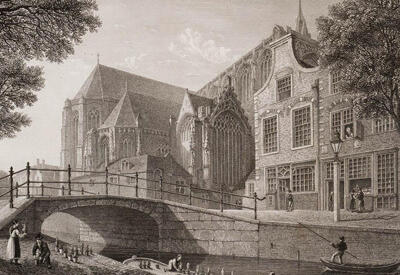 Drawing of a church - Daytrip: The secret of Delft
