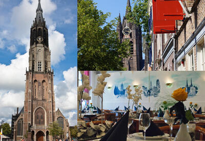 Compilation of the New Church, the Old Church and dining room Delftste Schouw - Custom made daytrips
